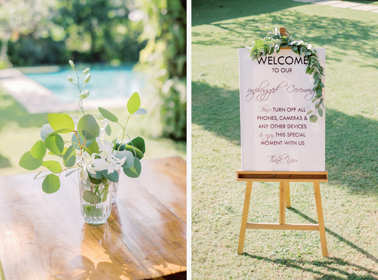 Unplugged Wedding Ceremony Sign Bali