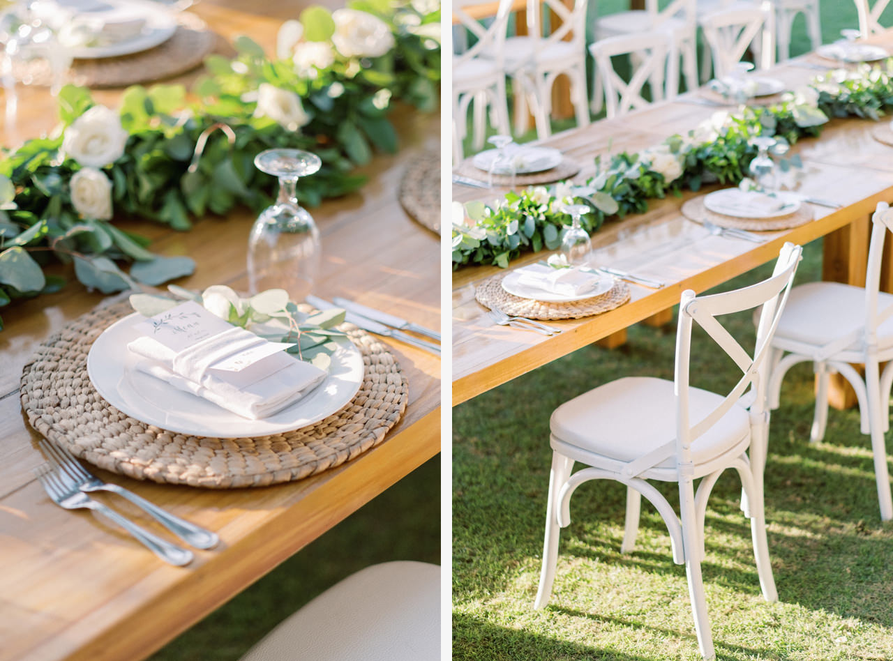 Tropical Greenery Wedding Table Decoration