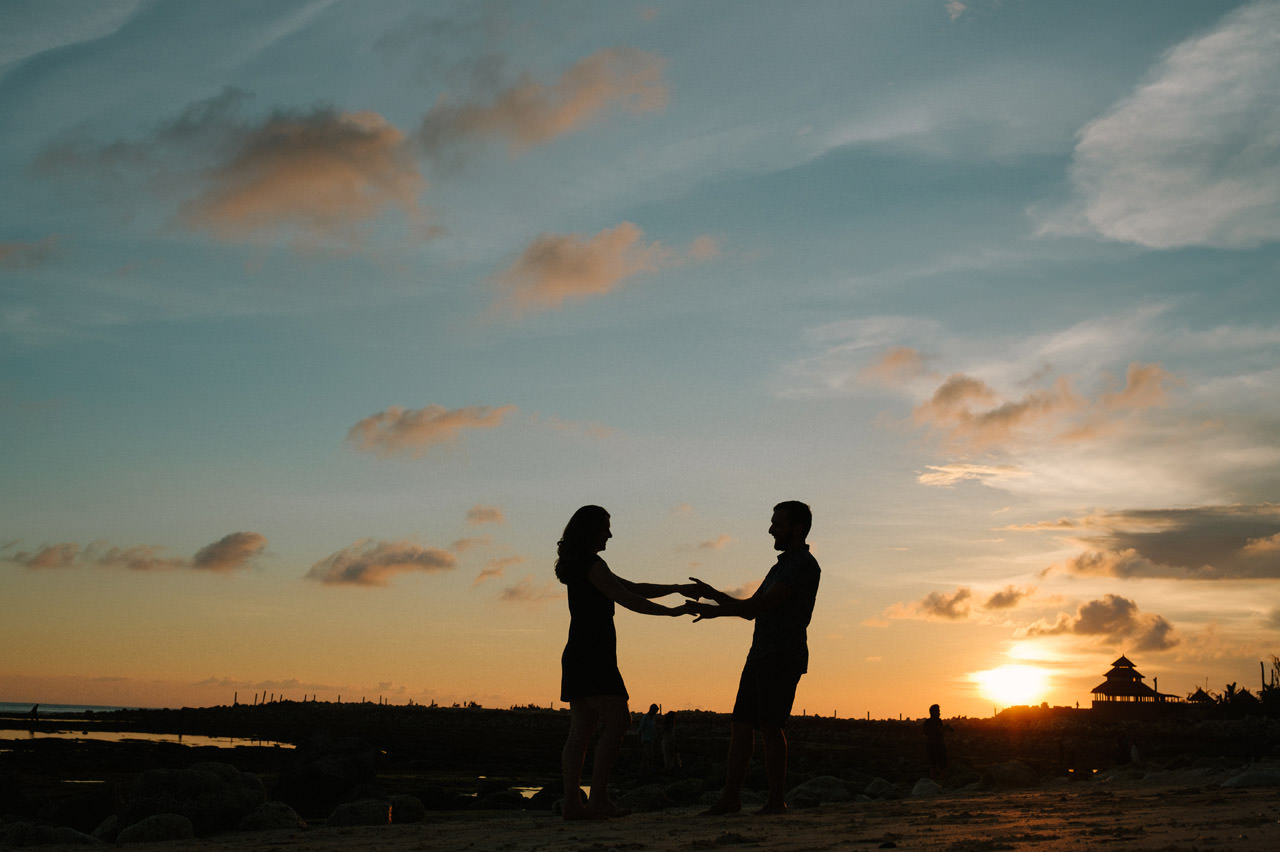 Kim & Dimitri's beach sunset Bali engagement photo session 32