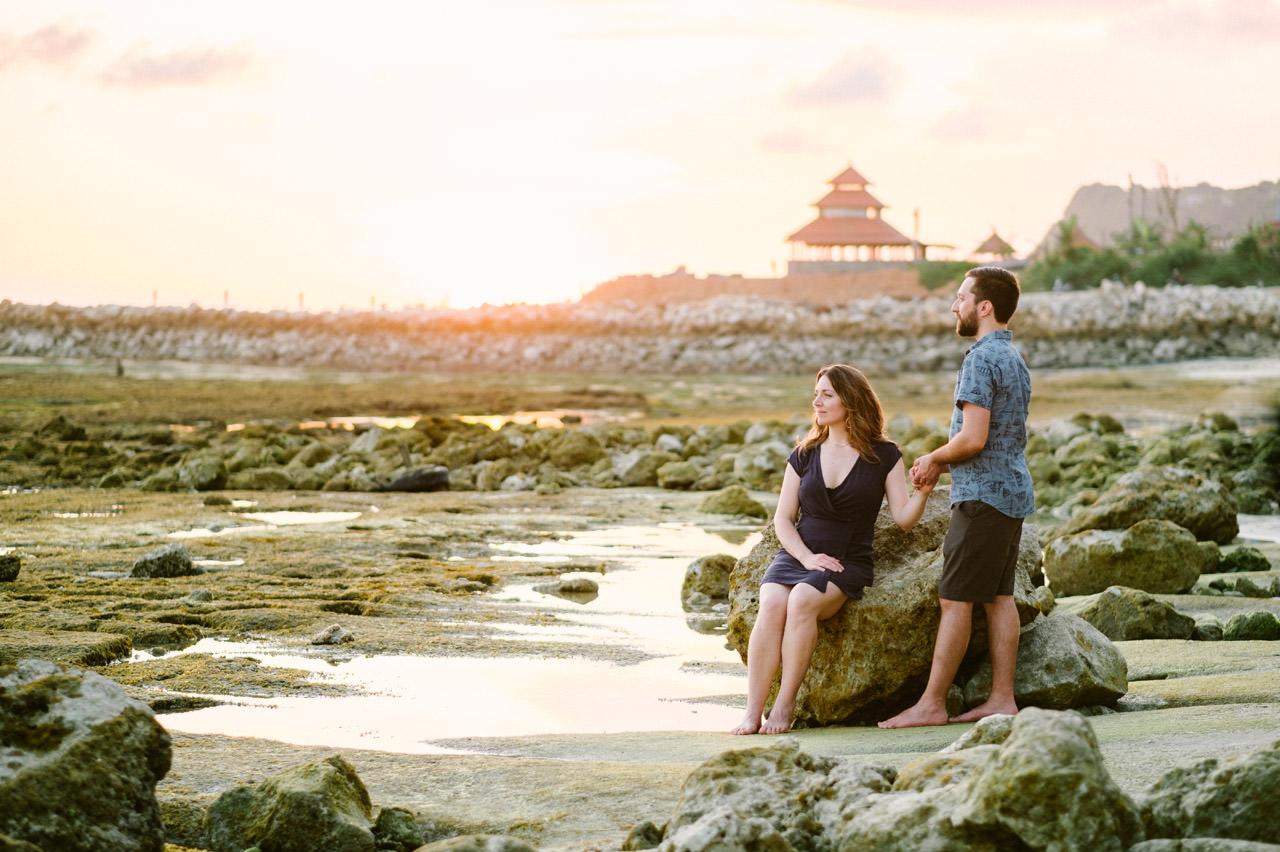 Kim & Dimitri's beach sunset Bali engagement photo session 33