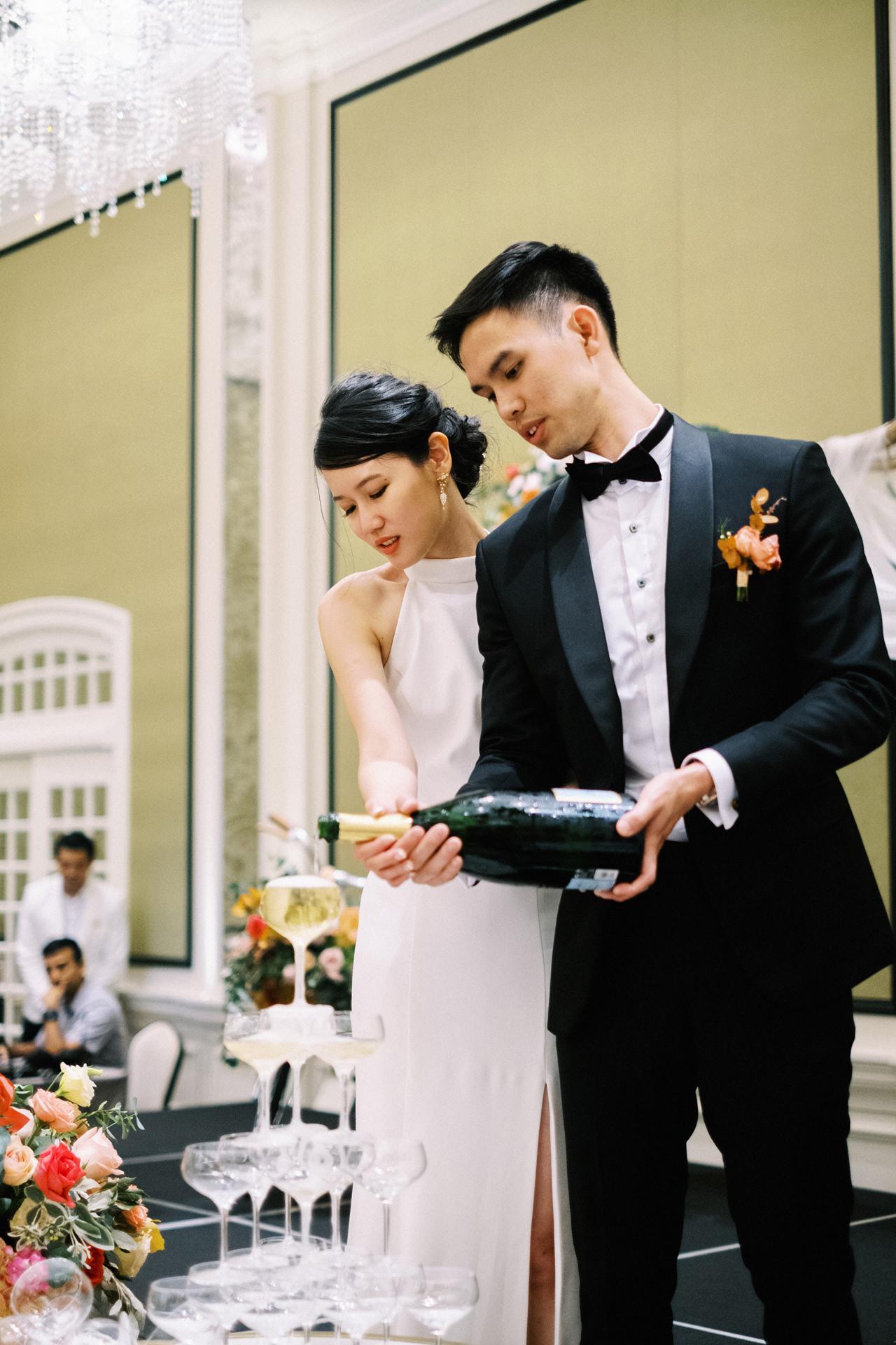 Elegant Raffles Hotel Singapore Wedding 73