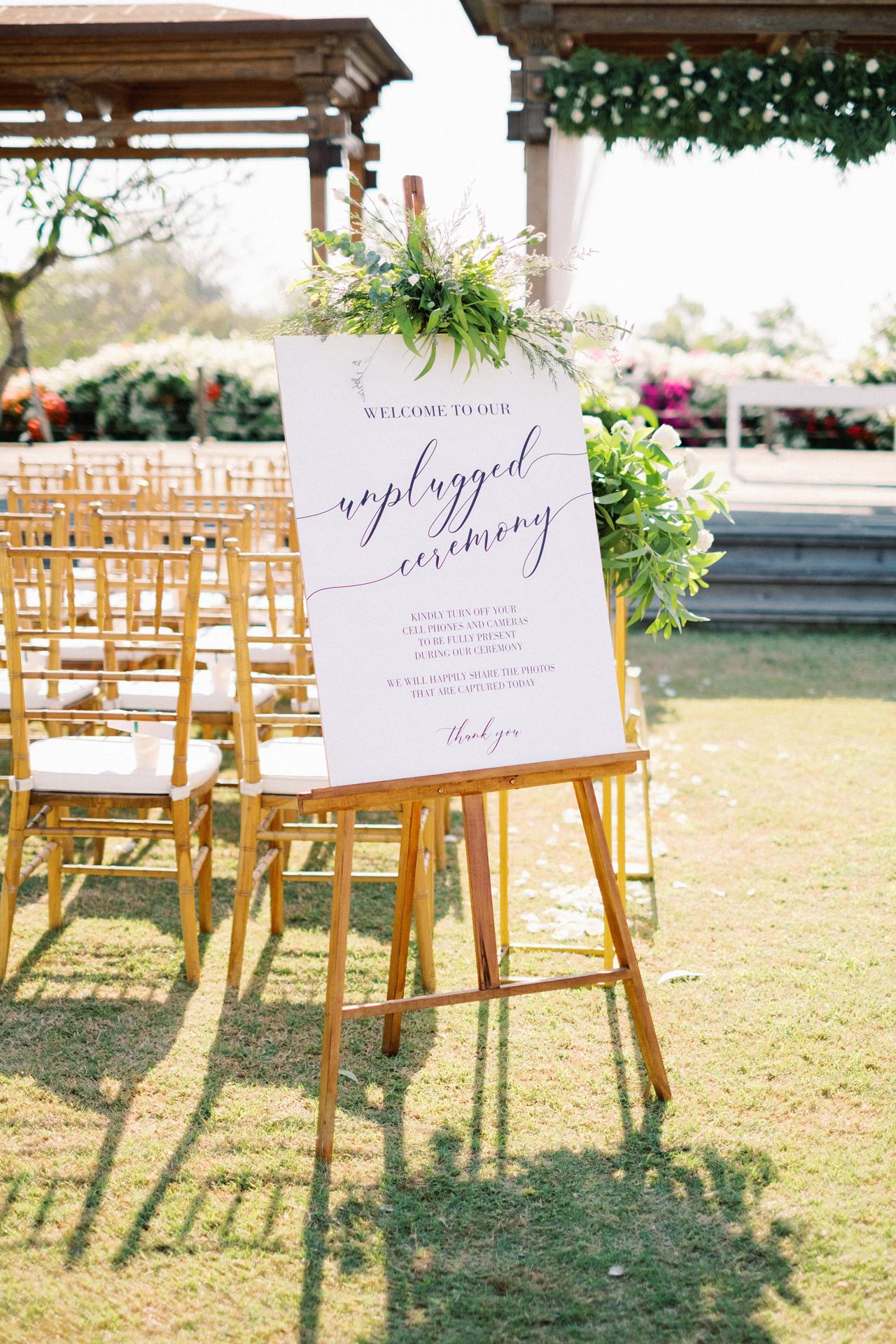 Unplugged Wedding Ceremony Sign Bali
