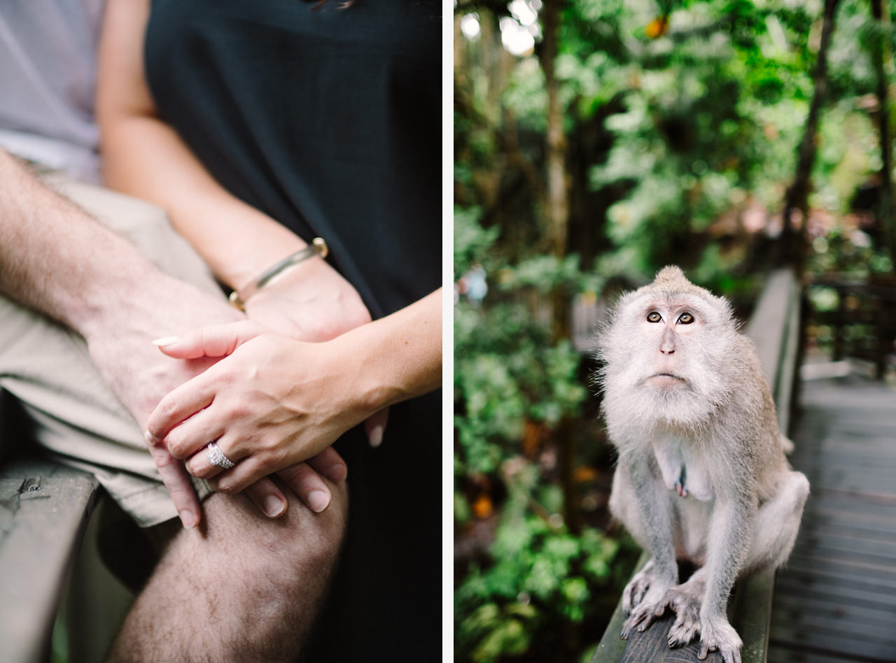 S&T: Bali Honeymoon Photography in Monkey Forest as Wedding Present 6