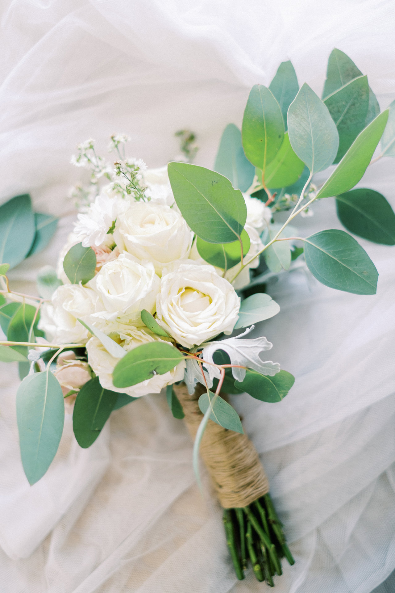 Bali Simple Wedding Bouquet White Roses