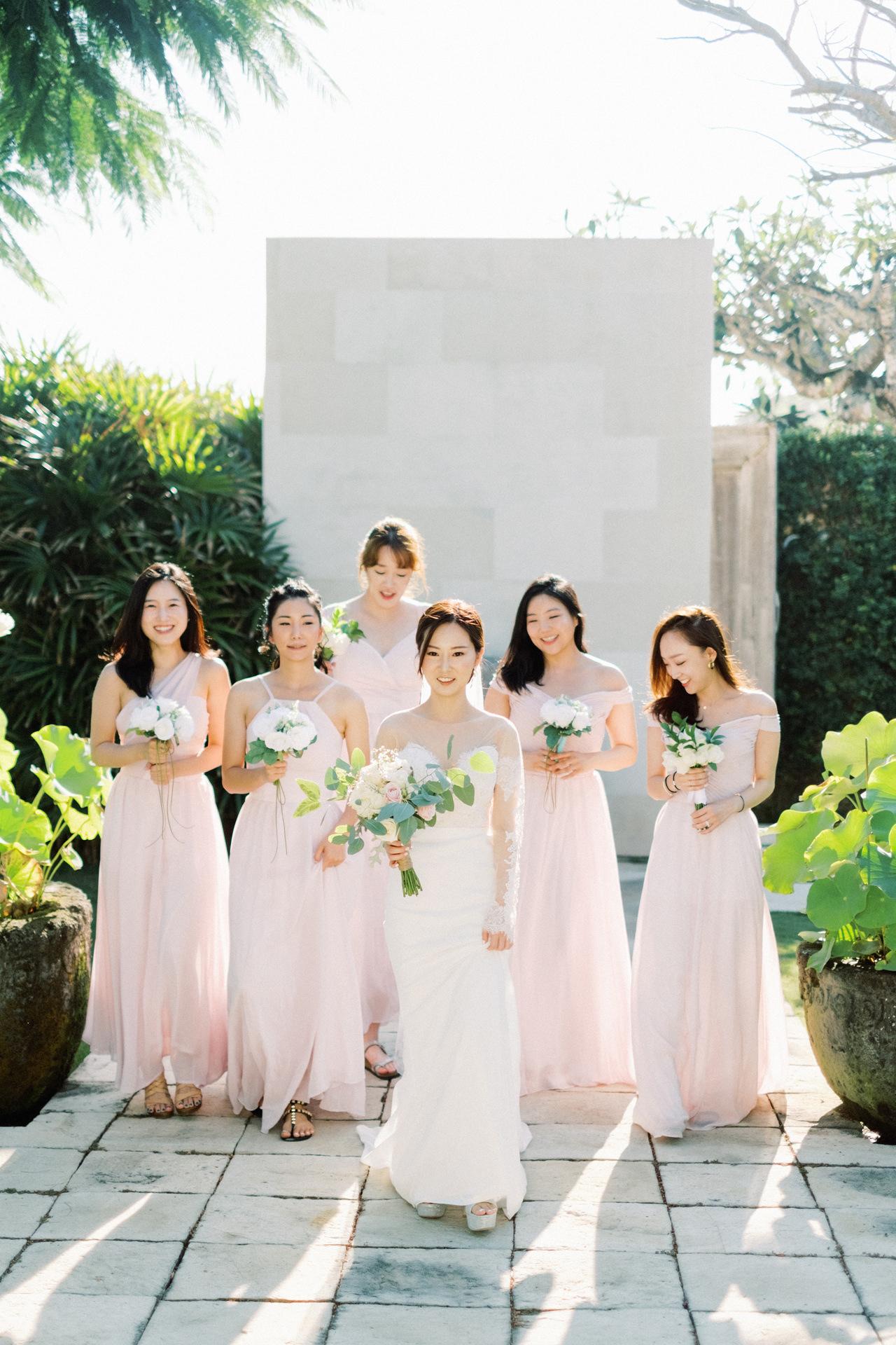 Bali Wedding Pink Blush Bridesmaid Gown